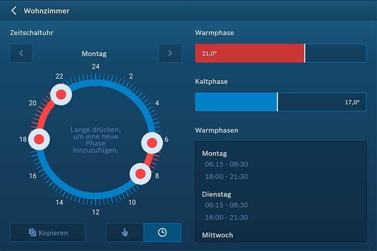 Über die Bosch Smart Home App erfolgt das festlegen von Smart Home Szenen und Routinen, im Bild die Heizzeiten