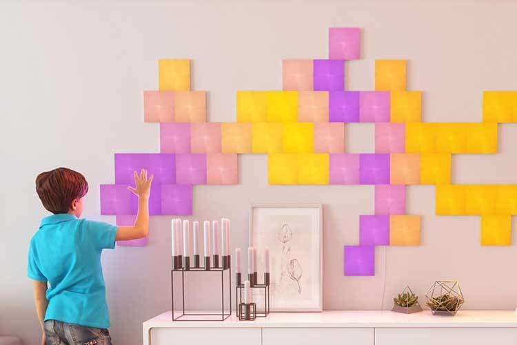 Die Nanoleaf Canvas LED-Panels lassen sich durch Berührung steuern