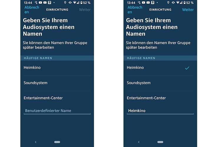 Bei der Namensvergabe für das Audiosystem, macht die Alexa App bereits Vorschläge