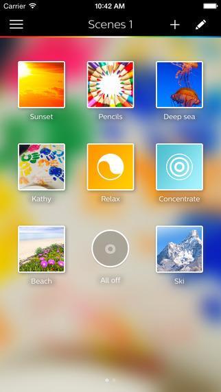 Abbildung der Philips Hue iPhone App