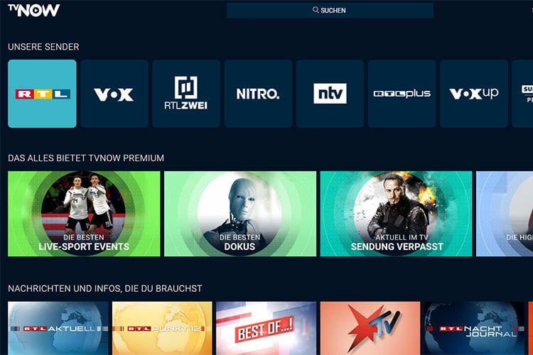 Das TVNOW Angebot der verschiedenen Sender erstreckt sich über TV-Inhalte, Sport, Serien und Filme