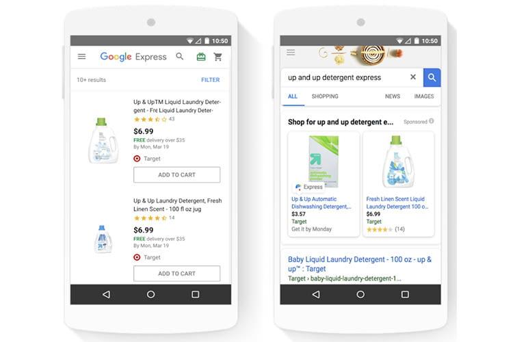 Google Assistant und die Google Express Verkäuferplattform teilen sich einen Warenkorb und Check-out-Prozess