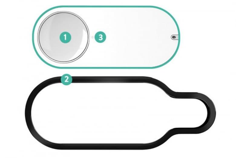 1 - Knopf  2 - Aufhängung 3 - Status-LED