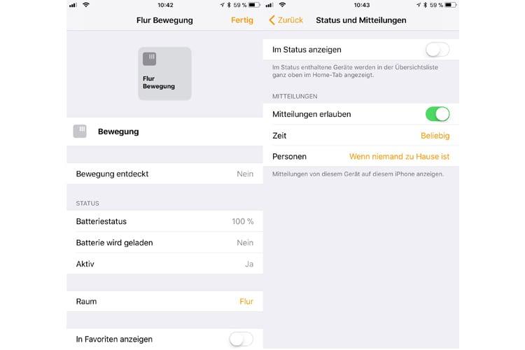 Mit den Einstellungsoptionen der Home-App verwandelt sich der Hue-Bewegungsmelder in eine Mini-Alarmanlage