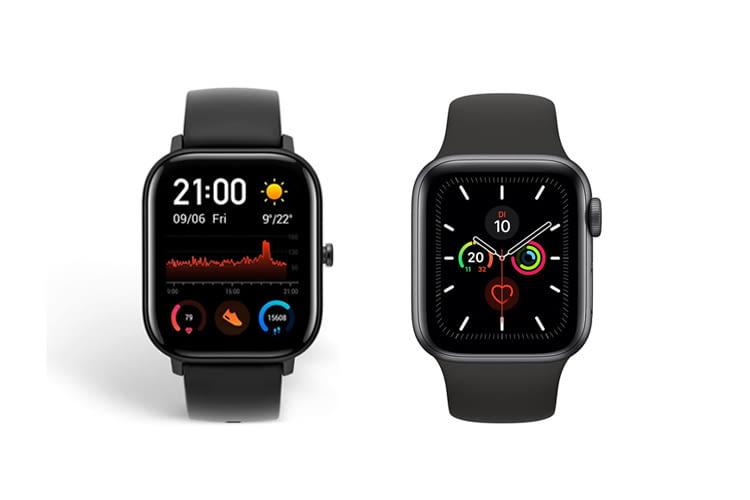 Links ist die Amazfit GTS Smartwatch zu sehen, rechts eine Apple Watch 5