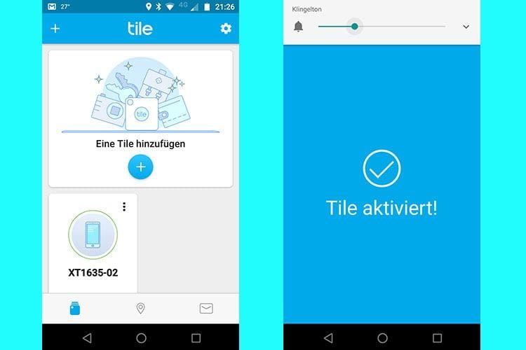 Nach der Registrierung bei Tile müssen Tile Slime und Smartphone aktiviert werden