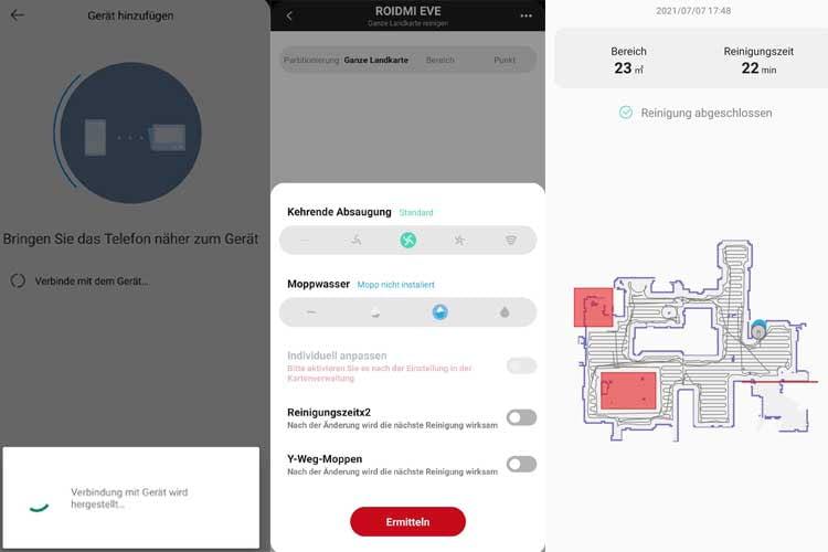 In der Xiaomi App konnten wir den Reinigungsvorgang nachverfolgen und zahlreiche Einstellungen vornehmen