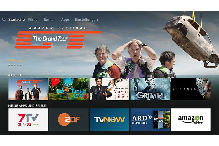 Der Home-Screen von Fire TV mit Amazon Prime Filmen und Fire TV Apps