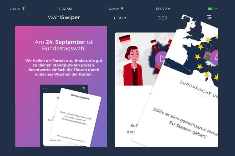 Der WahlSwiper von Movact hilft per App oder Alexa-Skill bei der Wahlentscheidung