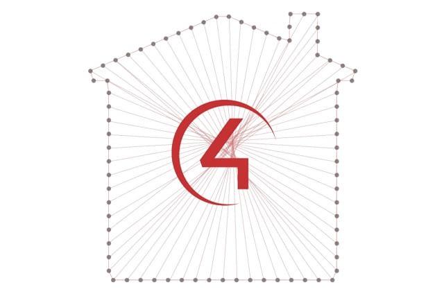 Das Logo von Control4 zeigt ein vernetztes Haus