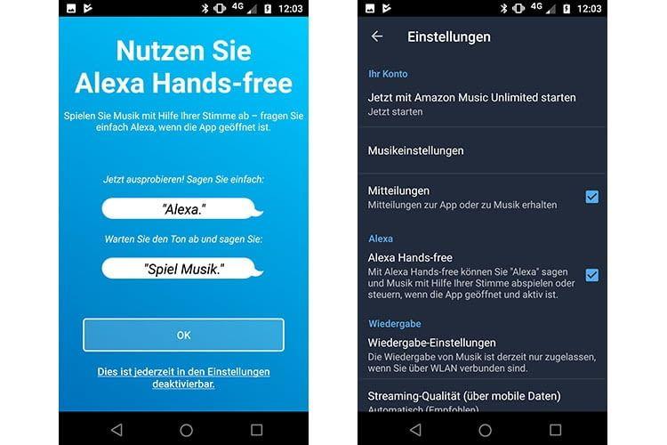 Nach dem Amazon Music App-Update begrüßt die App den Nutzer mit dem Hands-free-Hinweis