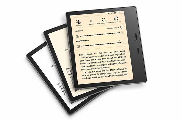 Amazon Kindle Oasis - die Farbtemperatur lässt sich ganz nach Wunsch einstellen