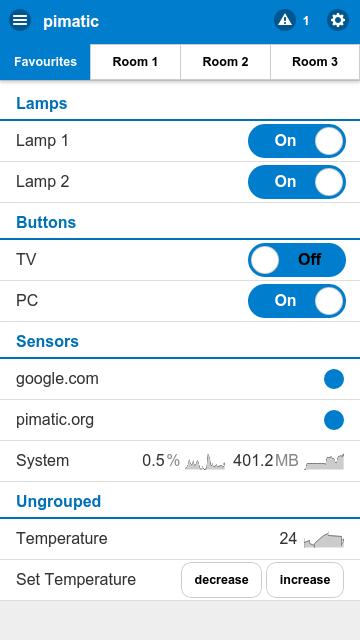 App Steuerung der Pimatic für Raspberry Pi Heimautomatisierungssoftware