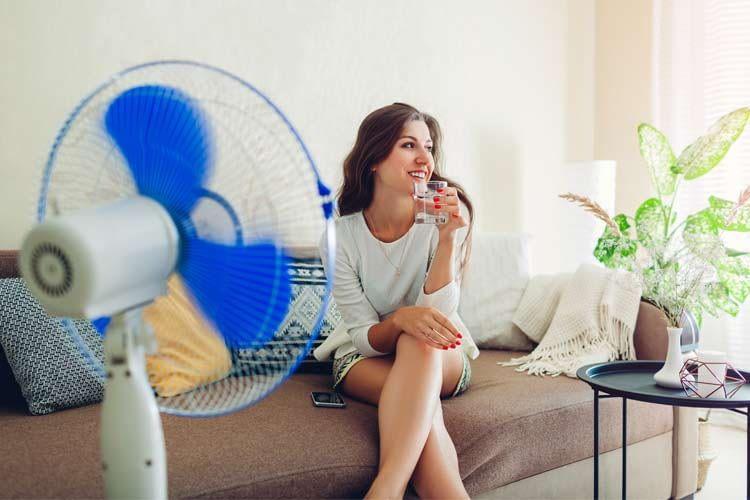 Bei den meisten Ventilatoren mit Wasserkühlung lässt sich die Verdunstungsmenge variieren