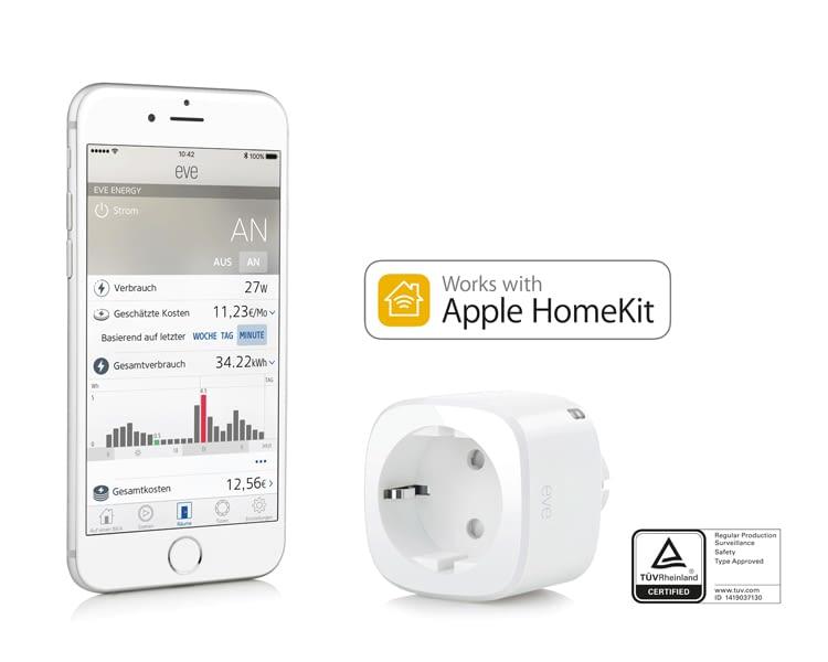 Elgato Eve Energy funktioniert als Zwischenstecker und zeigt den Stromverbauch auf dem iPhone