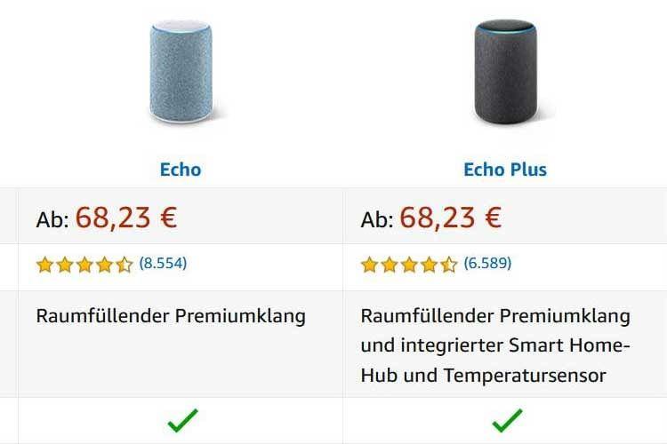 Amazon Echo Plus zum gleichen Preis wie der Standard Echo Lautsprecher (Stand: 07/2020)