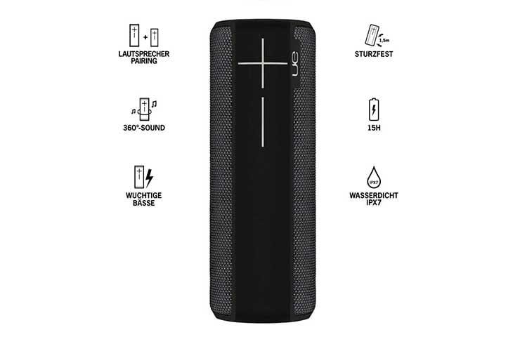 Ultimate Ears BOOM 2 - 360 Grad Bluetooth-Lautsprecher mit IPX7 Schutzklasse