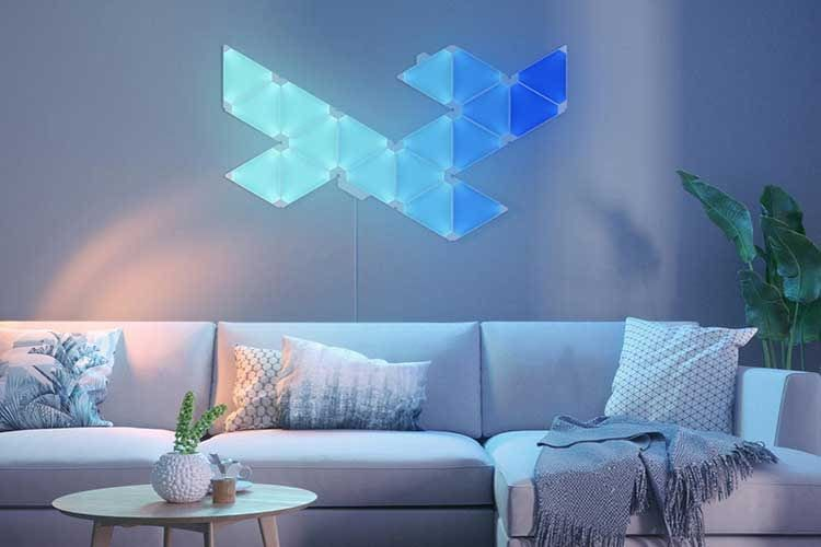 Die dreieckigen Nanoleaf Light Panels Rythm synchronisieren sich auf Wunsch mit Musik und Geräuschen