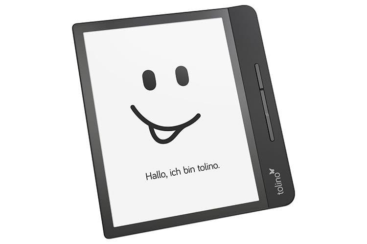 Tolino epos 2 bietet am Rand eine Halteleiste mit Bedien-Tasten
