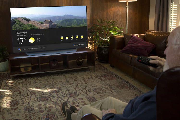 Google Wetter-Abfrage auf einem LG OLED- und SUPER UHD-TV der Geräteserie 2018
