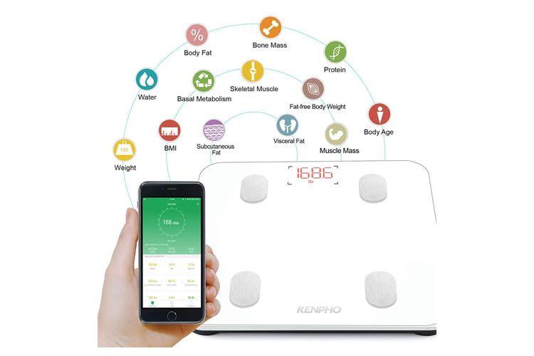 Die RENPHO Waage verbindet sich per Bluetooth mit dem Smartphone
