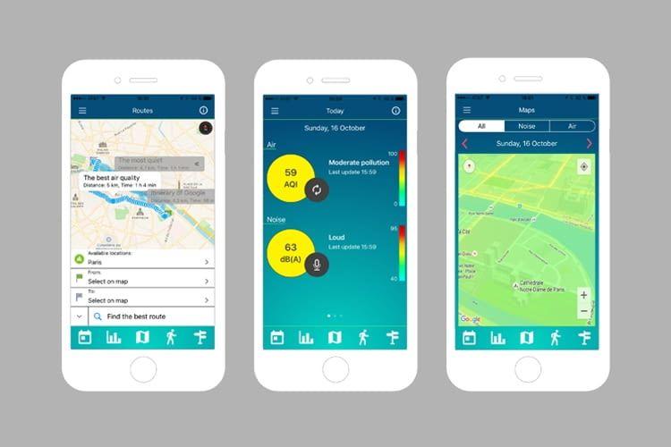 Die Ambiciti App zeigt in Echtzeit die Routen mit der geringsten Luft- und Lärmverschmutzung an