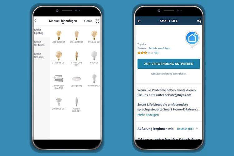 Die LSC Smart Connect App bietet eine deutsche Nutzeroberfläche, als Alexa Skill kommt Tuya Smart Life zum Einsatz