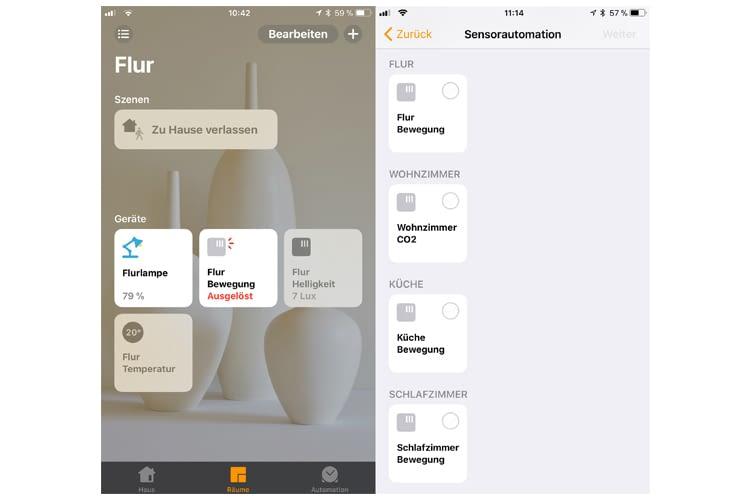 In der Home-App erscheinen drei Sensoren für den Hue-Bewegungsmelder: Bewegung, Helligkeit und Temperatur