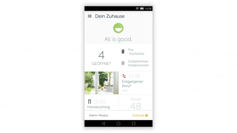 Die App von Gigaset verbindet übersichtlich alle Komponenten des Gigaset Smart Home Systems