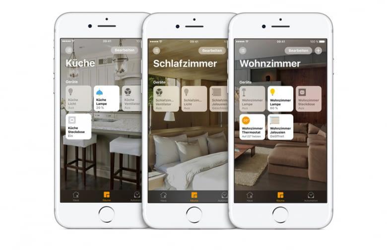 Geräte die mit HomeKit kompatibel sind können individuellen Räumen zugeordnet werden