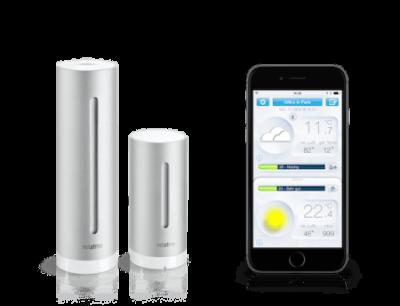 Bild der Netatmo Wetterstation und der Smartphone App