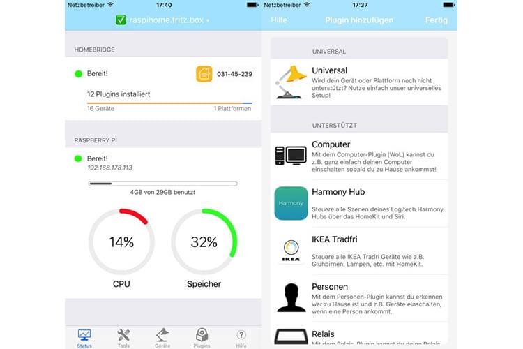 Einrichten, verwalten, erweitern, steuern: Die Homebridge-App erleichtert den Umgang mit dem Raspberry Pi