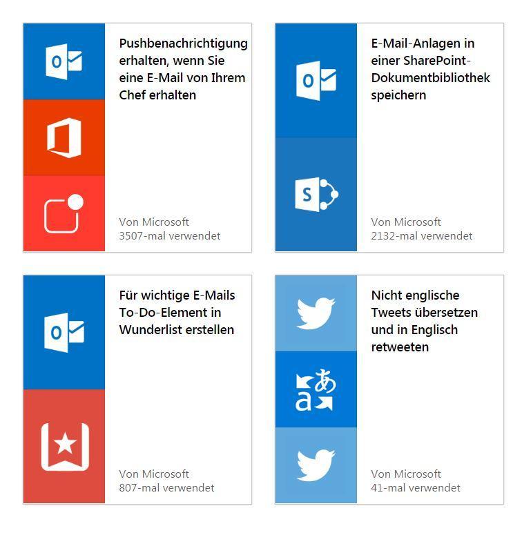 Microsoft Flow Automatisierungsdienst Anwendungen
