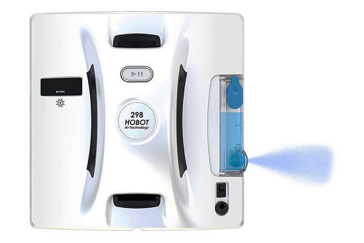 Der Fensterputzroboter Hobot 298 bietet einen integrierten Flüssigkeitstank mit Sprühdüse