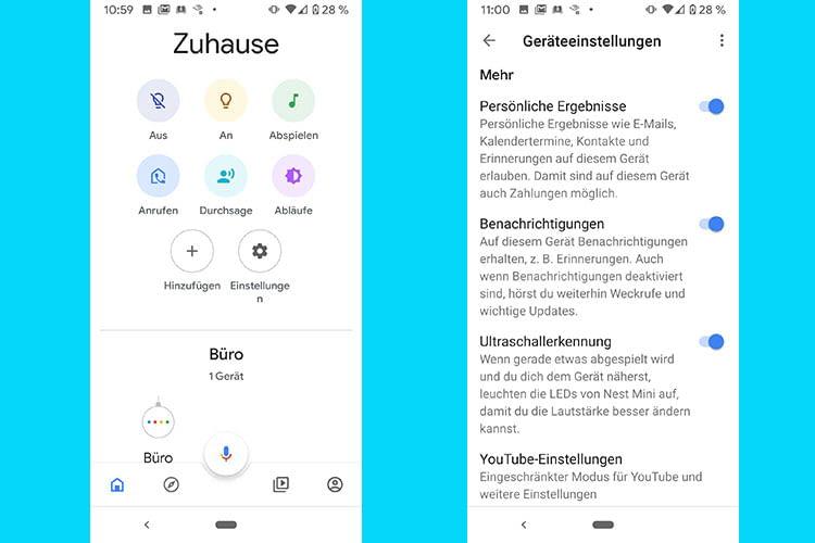 Anrufe und Durchsachen an Google Nest Mini konnten wir im Test problemlos von der Google Home App aus versenden