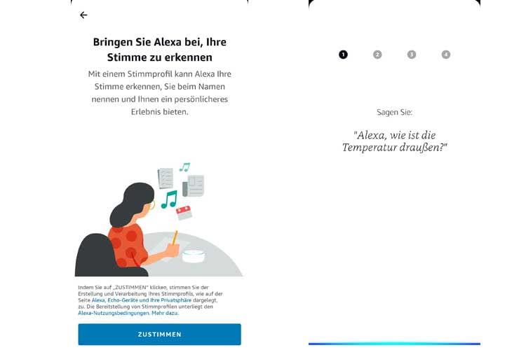 Nutzer können  in der Alexa App Stimmprofile erstellen