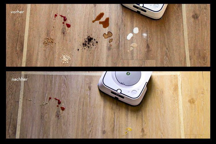 Hier ist zu sehen, dass der Wischroboter nur an eingetrockneter Marmelade und Kondensmilch scheitert