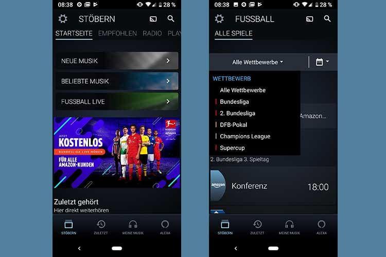 """In der Amazon Music App kommt man über den Punkt """"Fussball Live"""" direkt in das Auswahlmenü der Fußballberichterstattung"""