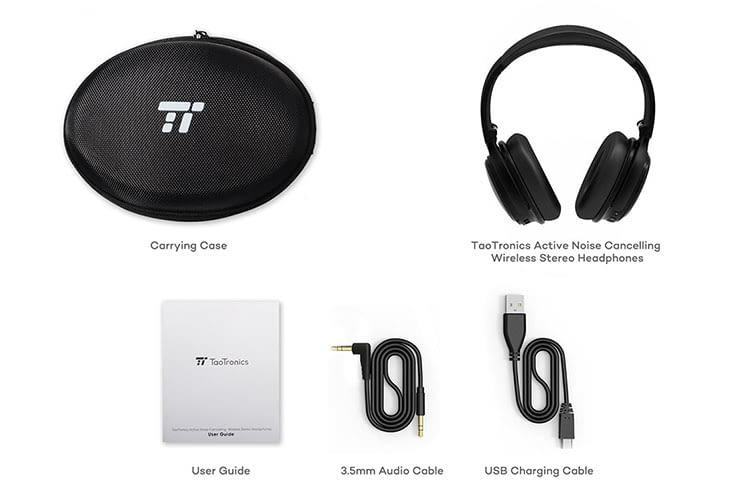 Lieferumfang des TaoTronix TT-BH22 Bluetooth-Kopfhörers mit ANC