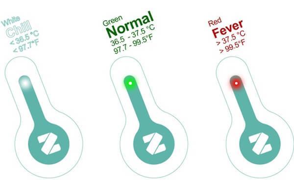Anzeige am Flo Thermometer - Messdaten werden per Bluetooth übertragen