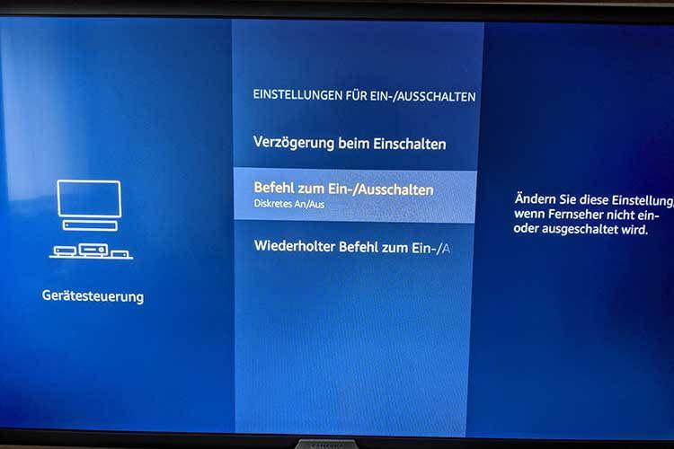 """Im Test konnten wir den TV erst per Sprache ein-/ausschalten, nachdem wir auf """"Diskretes AN/Aus"""" umgestellt hatten"""