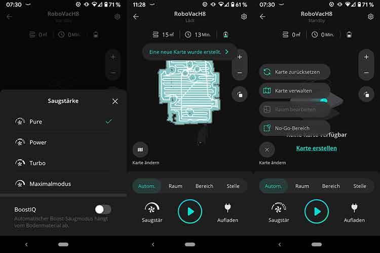Die EufyHome App ist intuitiv zu bedienen: Saugstärke einstellen (li.), Reinigungsverlauf in Echtzeit verfolgen (mi.) und Karten verwalten (re.)