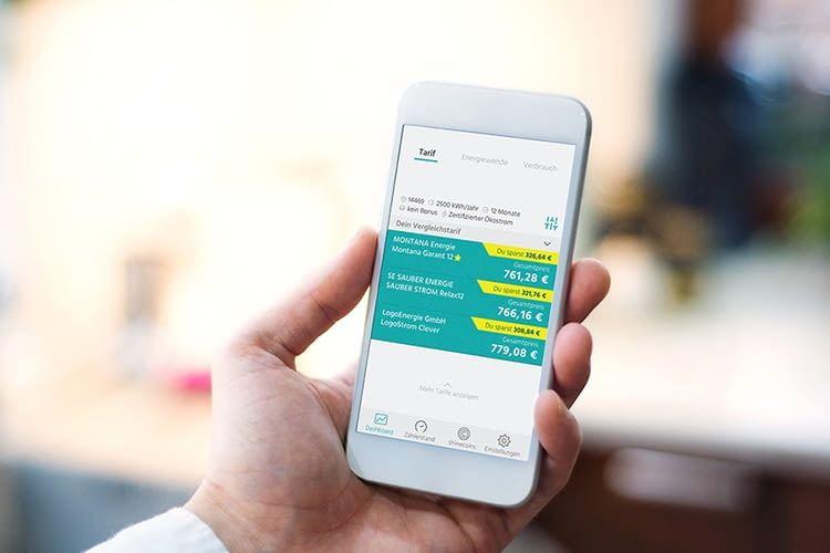 Die App shine hilft beim Vergleich von Stromtarifen