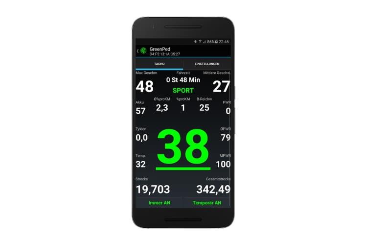 Während der Fahrt zeigt die GreenPed App viele nützliche Parameter an
