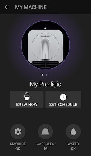Abbildung der Nespresso Prodigio Android App
