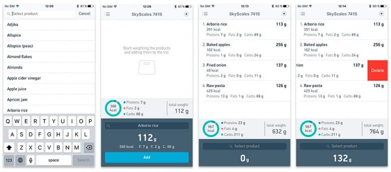 Über die App schlüsselt die smarte Küchenwaage jede Mahlzeit in Kalorien, Fette, Eiweiß und Kohlenhydrate auf