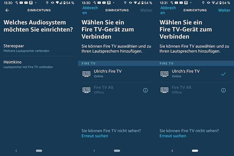 Auf die Frage nach dem Audiosystem die Heimkino-Option auswählen und ein verfügbares Fire TV Gerät auswählen