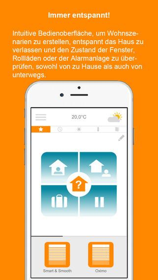 Abbildung der Connexoon Window iOS App von Somfy