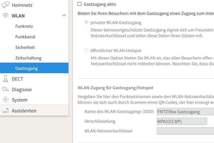Bei der FRTIZ!Box lässt sich der WLAN-Gastzugang per Klick aktivieren