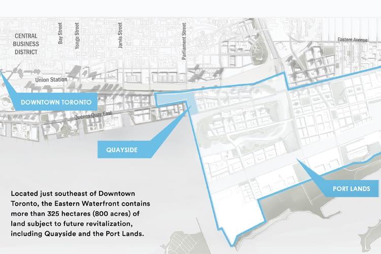 Hier soll Quayside, der erste smarte Stadtteil in Toronto, entstehen